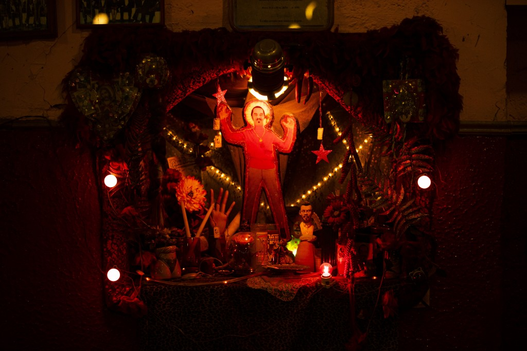 An altar in honor of Cuban Mambo King Damaso Perez Prado decorates a corner of the Salon Los Angeles during an event to raise money and keep open the ...