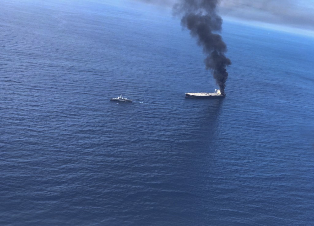 This Thursday, Sept.3, 2020 photo released by Sri Lankan Air Force shows smoke rising after a fire broke out on a Panama-registered oil tanker about 3...