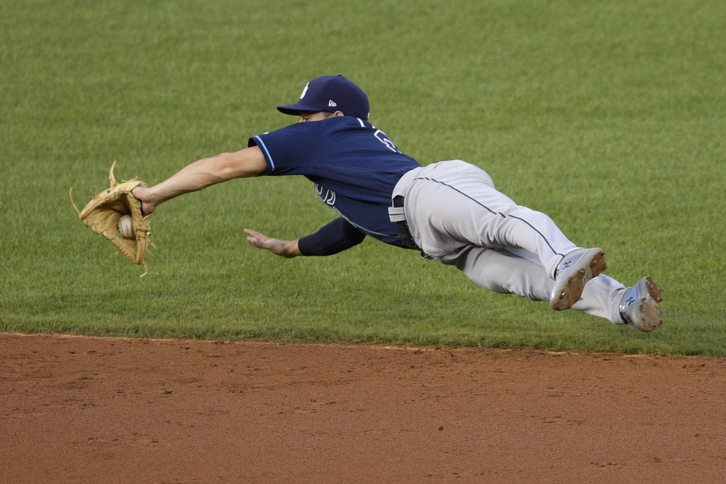 Tampa Bay Rays second baseman Brandon Lowe fields a ball hit by Washington Nationals' Juan Soto during the third inning of a baseball game, Tuesday, S...