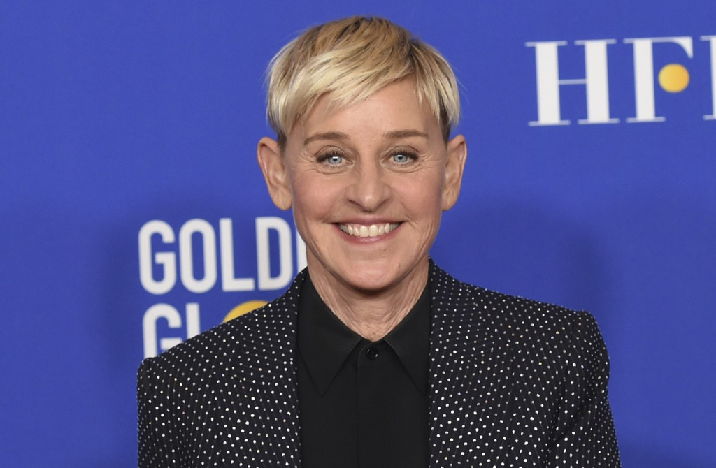 FILE - Ellen DeGeneres poses in the press room at the 77th annual Golden Globe Awards on Jan. 5, 2020, in Beverly Hills, Calif. DeGeneres says she'll ...