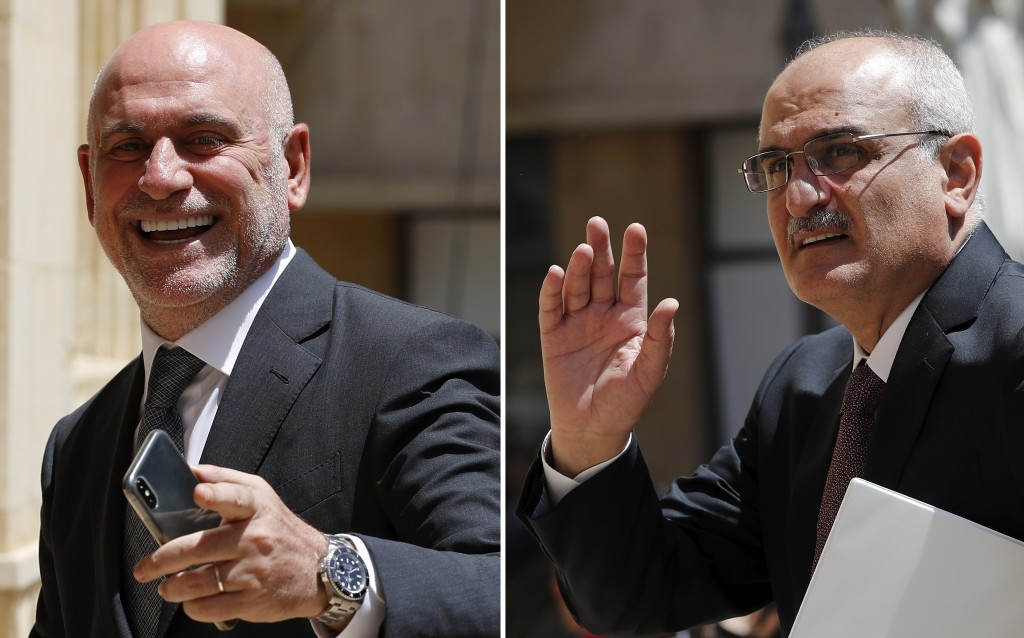 A combo picture shows Lebanese Public Works and Transportation Minister Youssef Fenianos entering parliament in Beirut, Lebanon, May 23, 2018, left, a...