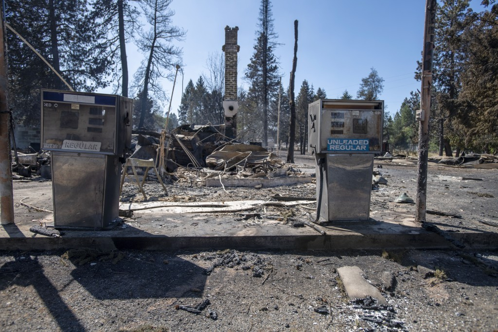 A service station that was destroyed by a wildfire is shown Tuesday, Sept. 8, 2020, in Malden, Wash. High winds kicked up wildfires across the Pacific...