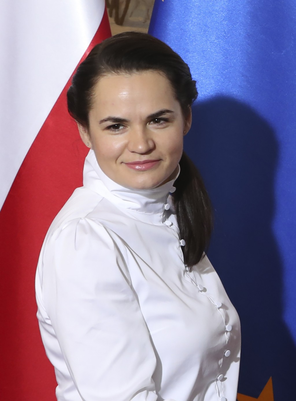 Exiled Belarusian opposition leader Sviatlana Tsikhanouskaya is pictured as she visits the Polish Prime Minister in Warsaw, Poland, Wednesday, Sept. 9...