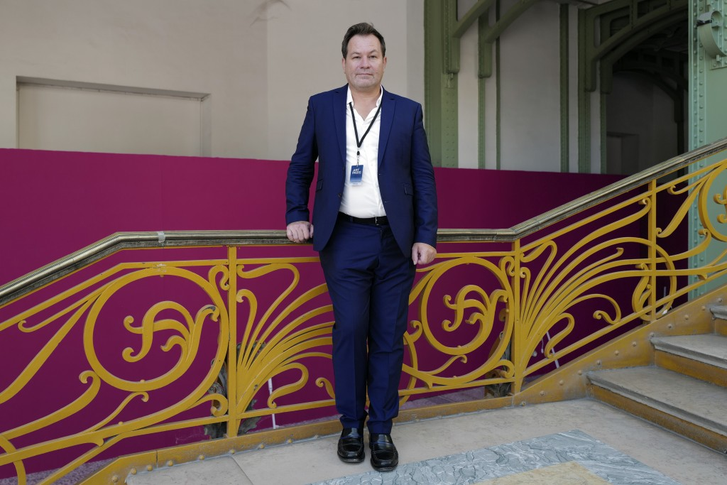Art Paris General Curator Guillaume Piens, poses during the private view of Art Paris at the Grand Palais in Paris, Wednesday Sept. 9, 2020. The coron...