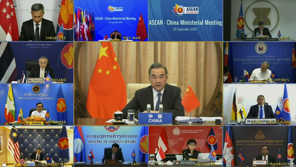 In this image taken from video provided by VTV, Chinese Foreign Minister Wang Yi speaks during an online meeting with ASEAN foreign ministers on Wedne...