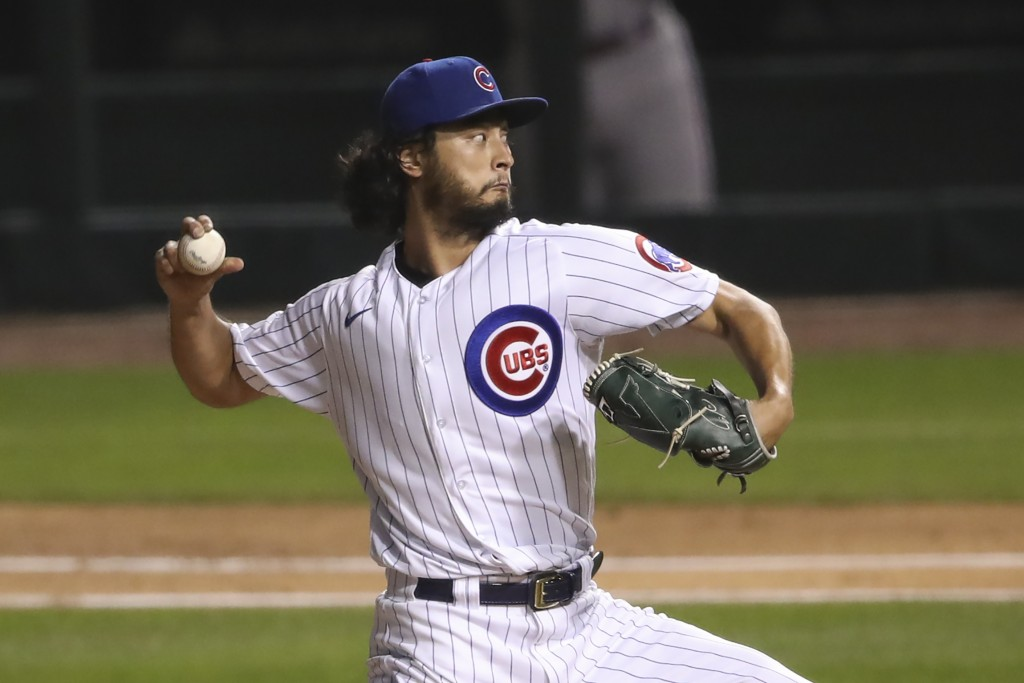 Chicago Cubs starting pitcher Yu Darvish delivers to a Cincinnati Reds batter during the third inning of a baseball game Wednesday, Sept. 9, 2020, in ...