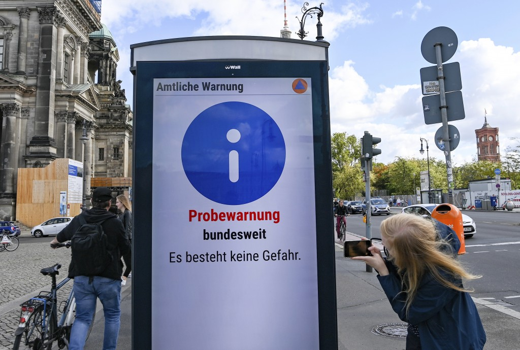 """Trial warning nationwide. There is no danger"" is written at the first nationwide warning day on an information board in Berlin, Germany, Thursday, Se..."