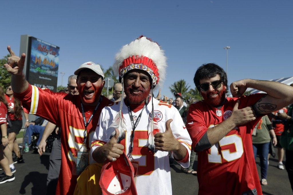 FILE - In this Feb. 2, 2020 file photo, Kansas City Chiefs fans arrive for the NFL Super Bowl 54 football game between the Chiefs and the San Francisc...