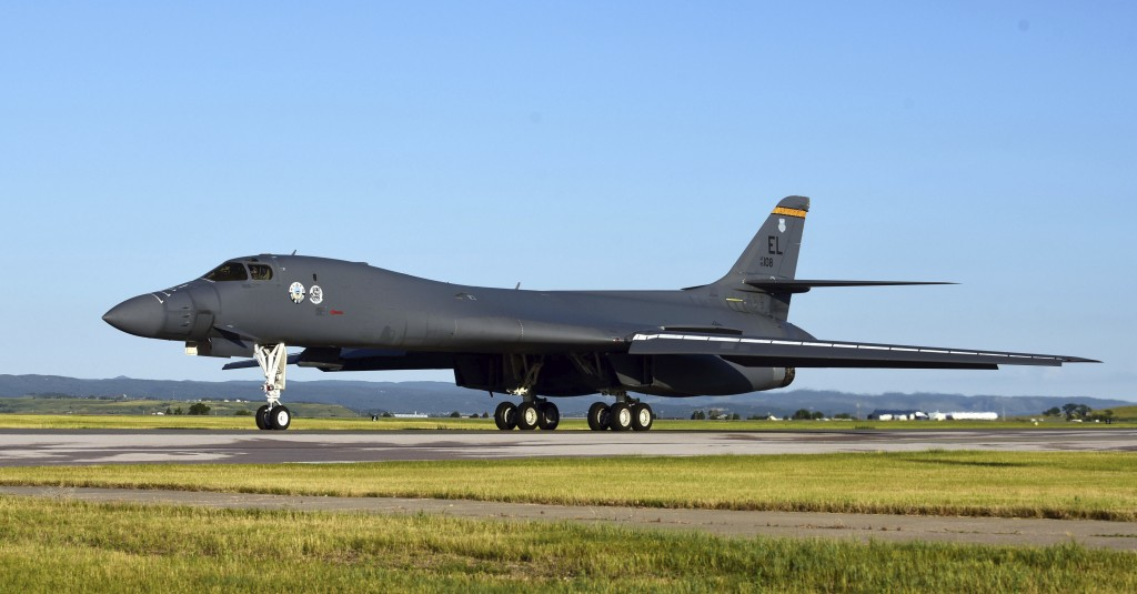 A B-1B Lancer assigned to the 37th Bomb Squadron taxis on the flightline at Ellsworth Air Force Base, USA, Thursday, July 16, 2020. he U.S. Air Force ...