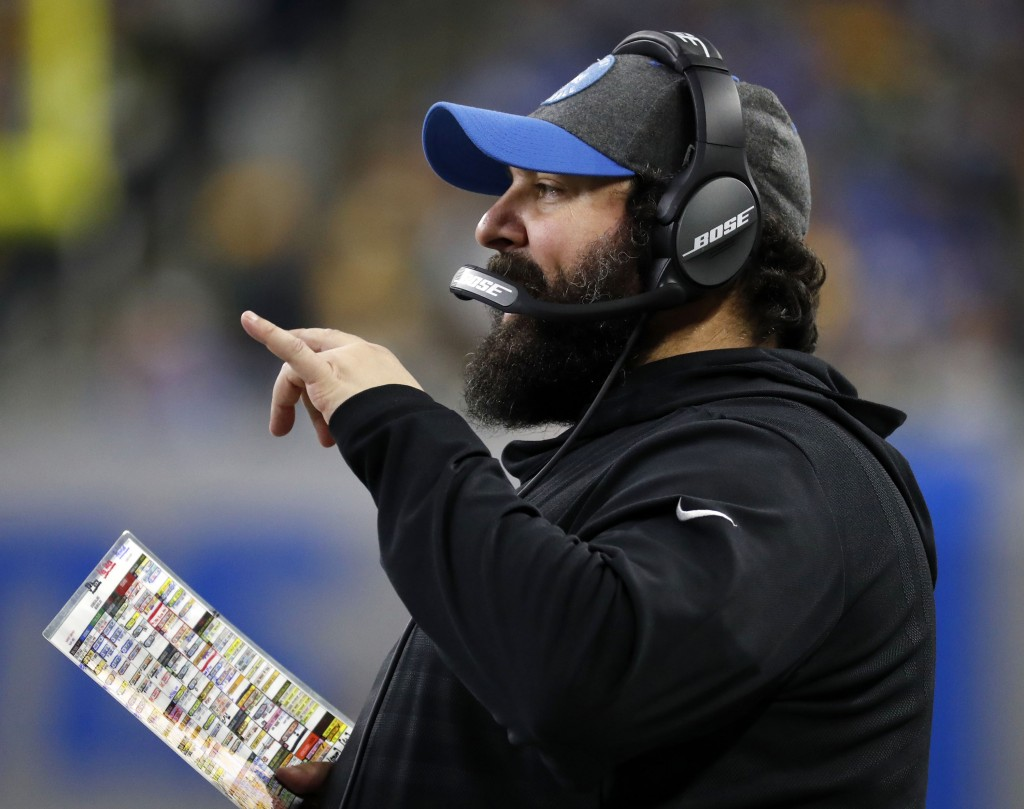 FILE - In this Dec. 29, 2019, file photo, Detroit Lions head coach Matt Patricia stands on the sideline during the first half of an NFL football game ...