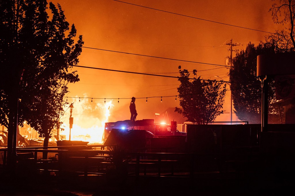 This photo taken by Talent, Ore., resident Kevin Jantzer shows the destruction of his hometown as wildfires ravaged the central Oregon town near Medfo...