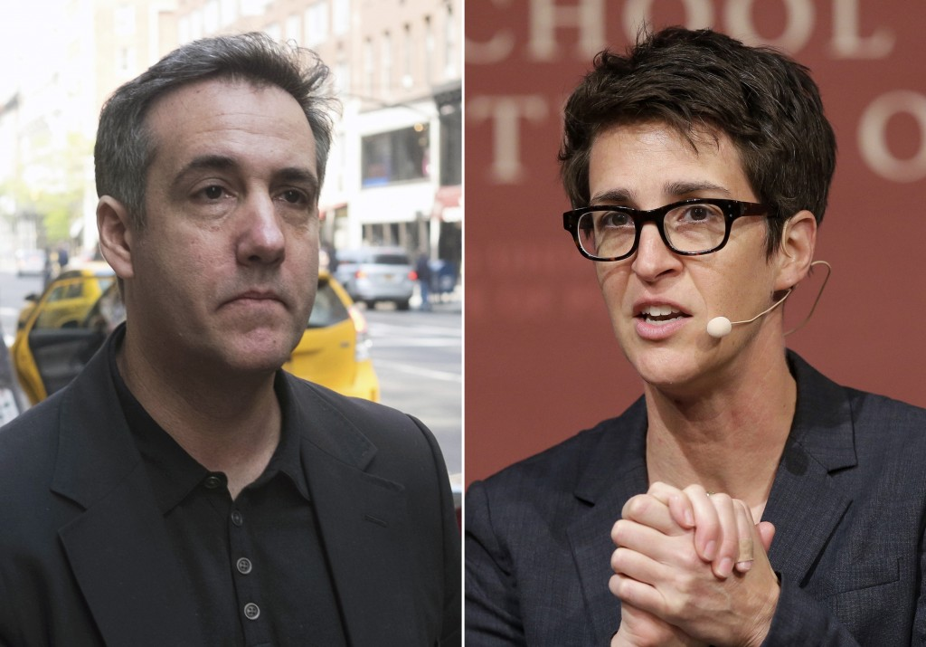 """In this combination photo, Michael Cohen, left, walks down Madison Avenue on May 4, 2019, in New York and MSNBC television anchor and host of """"The Rac..."""