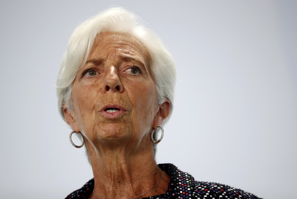 European Central Bank (ECB) President Christine Lagarde attends a news conference during the Informal Meeting of Economics and Finance Ministers in Be...