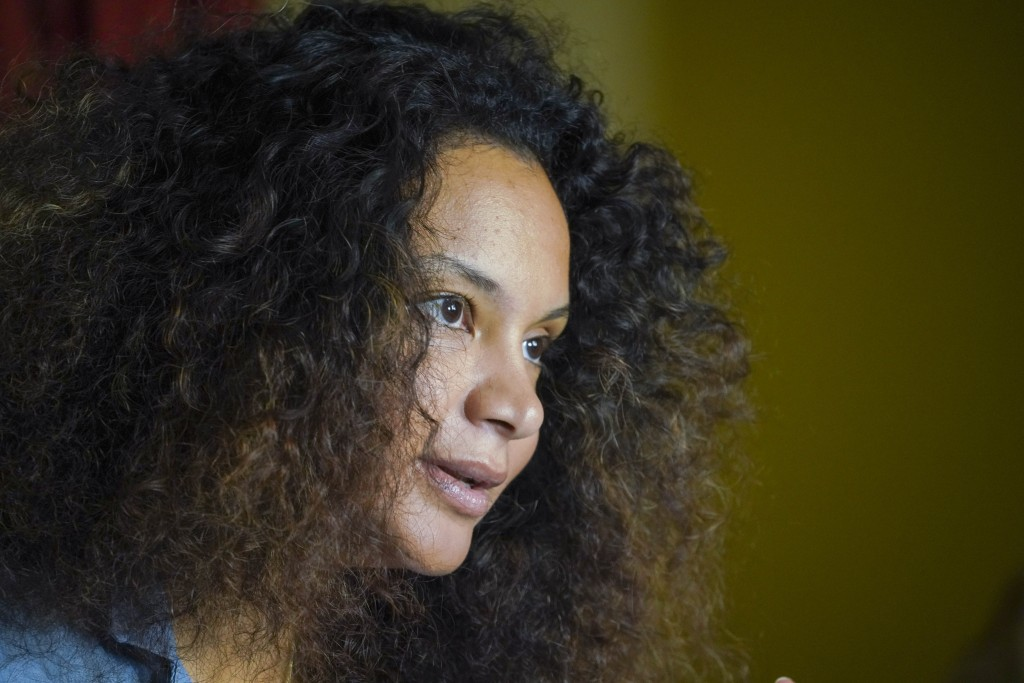 FILE - In this Thursday, Aug. 13, 2020 file photo, fashion designer Stella Jean talks during an interview with the Associated Press, in Rome. The Ital...