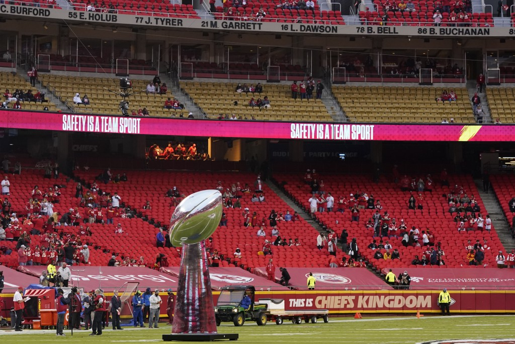 A model of the Super Bowl trophy stands on the field before an NFL football game between the Kansas City Chiefs and the Houston Texans Thursday, Sept....