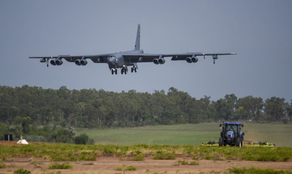 A U.S. Air Force B-52 Stratofortress bomber, assigned to the 96th Expeditionary Bomb Squadron, deployed from Barksdale Air Force Base, Louisiana, land...