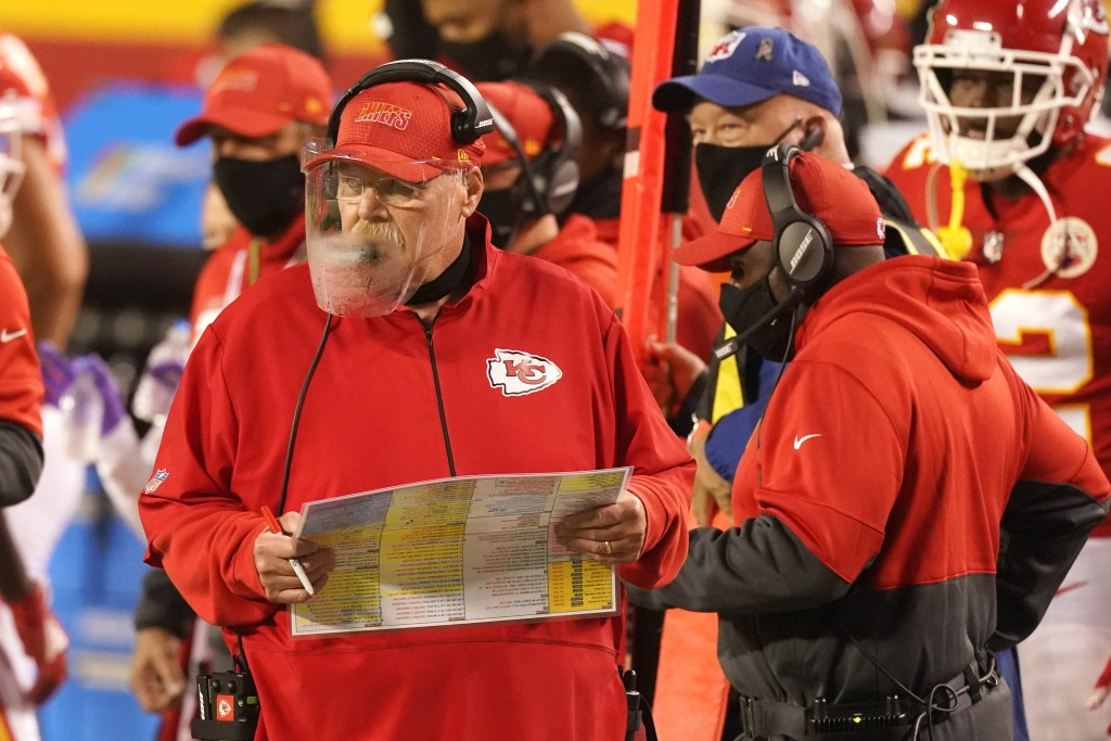 Kansas City Chiefs head coach Andy Reid watches from the sideline in the first half of an NFL football game against the Houston Texans Thursday, Sept....