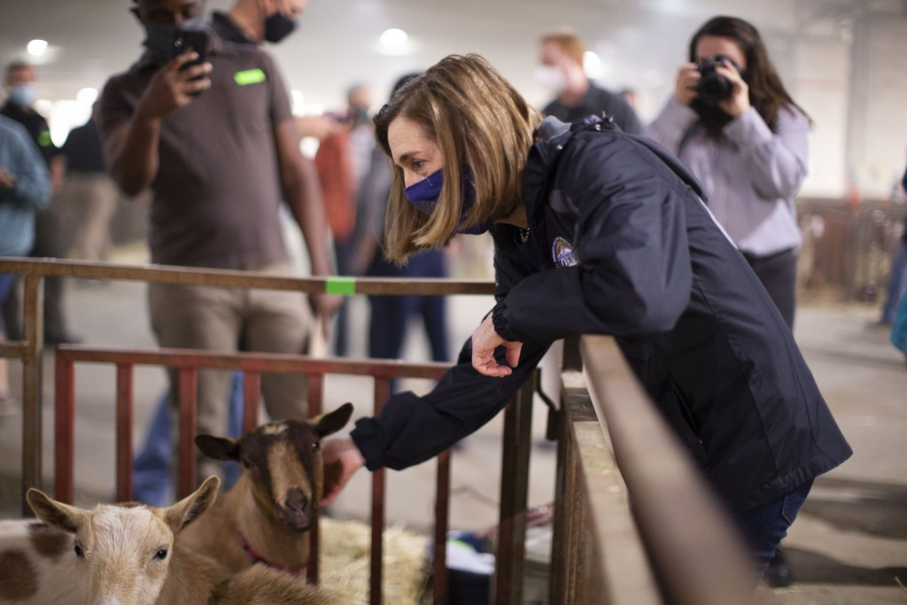 Oregon Governor Kate Brown toured the Oregon State Fairgrounds in Salem, Ore., Saturday, Sept. 12, 2020, where she spoke with volunteers and evacuees....