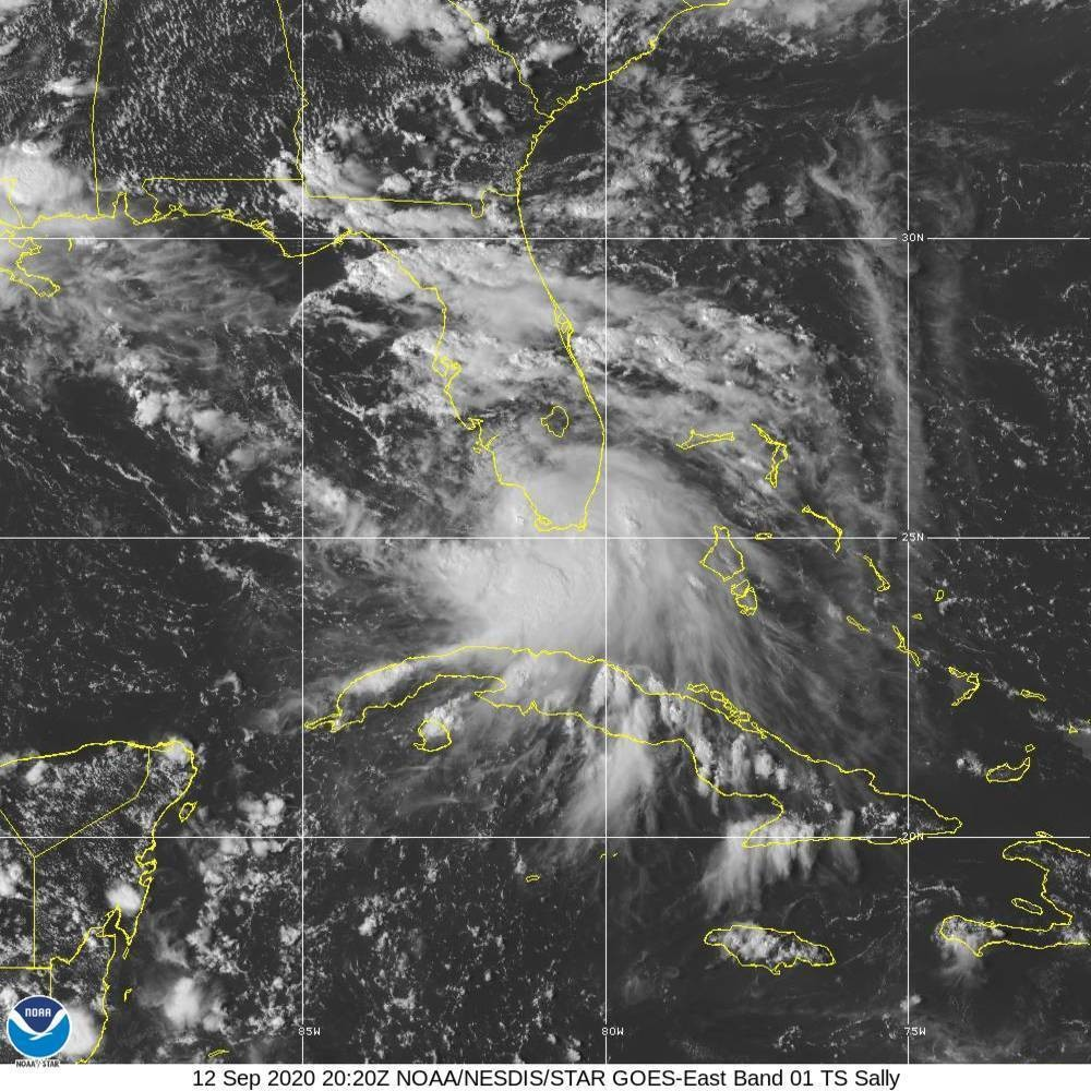 This Saturday, Sept. 12, 2020 image provided by NOAA shows the formation of Tropical Storm Sally. Tropical Storm Sally has formed off south Florida, b...