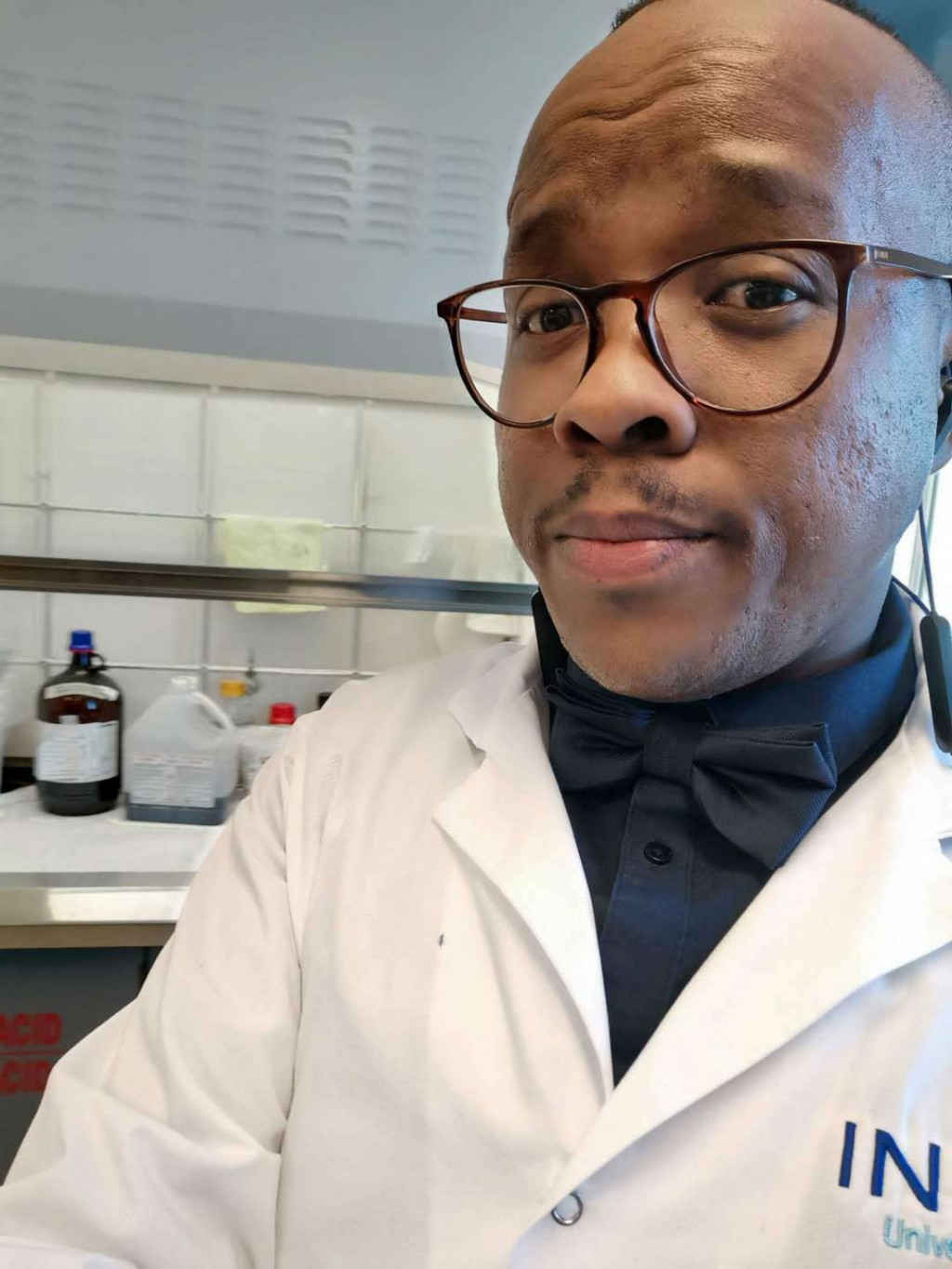This 2019 photo provided by Itumeleng Moroenyane shows him in Laval, Quebec, Canada. Moroenyane, a doctoral student at the National Institute of Scien...