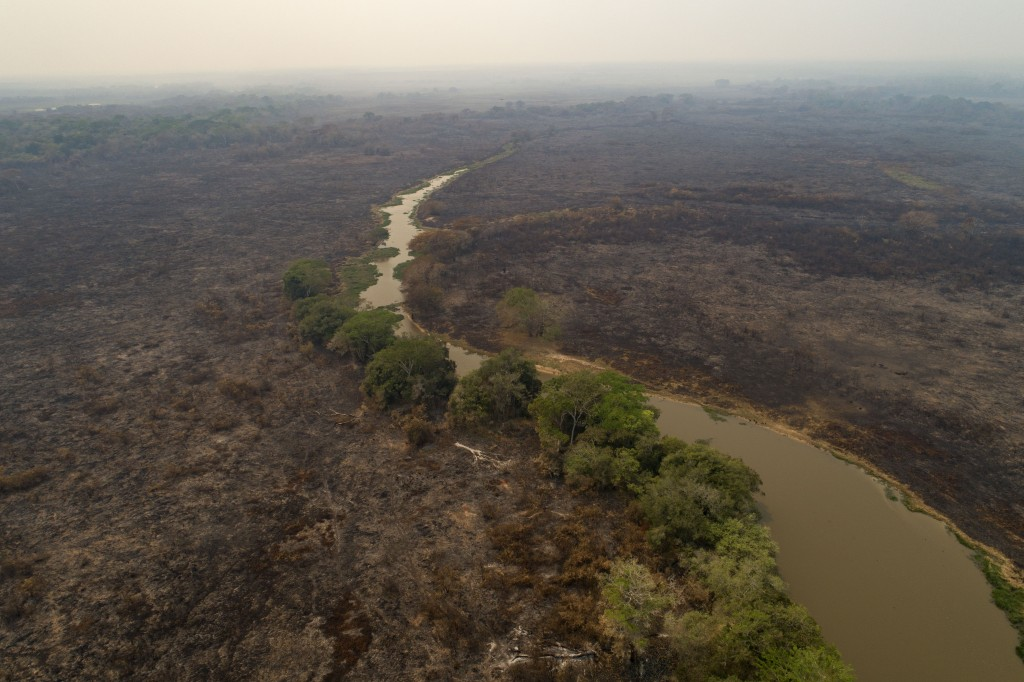 An recently burned area at the Encontro das Aguas park at the Pantanal wetlands near Pocone, Mato Grosso state, Brazil, Saturday, Sept. 12, 2020. Wild...