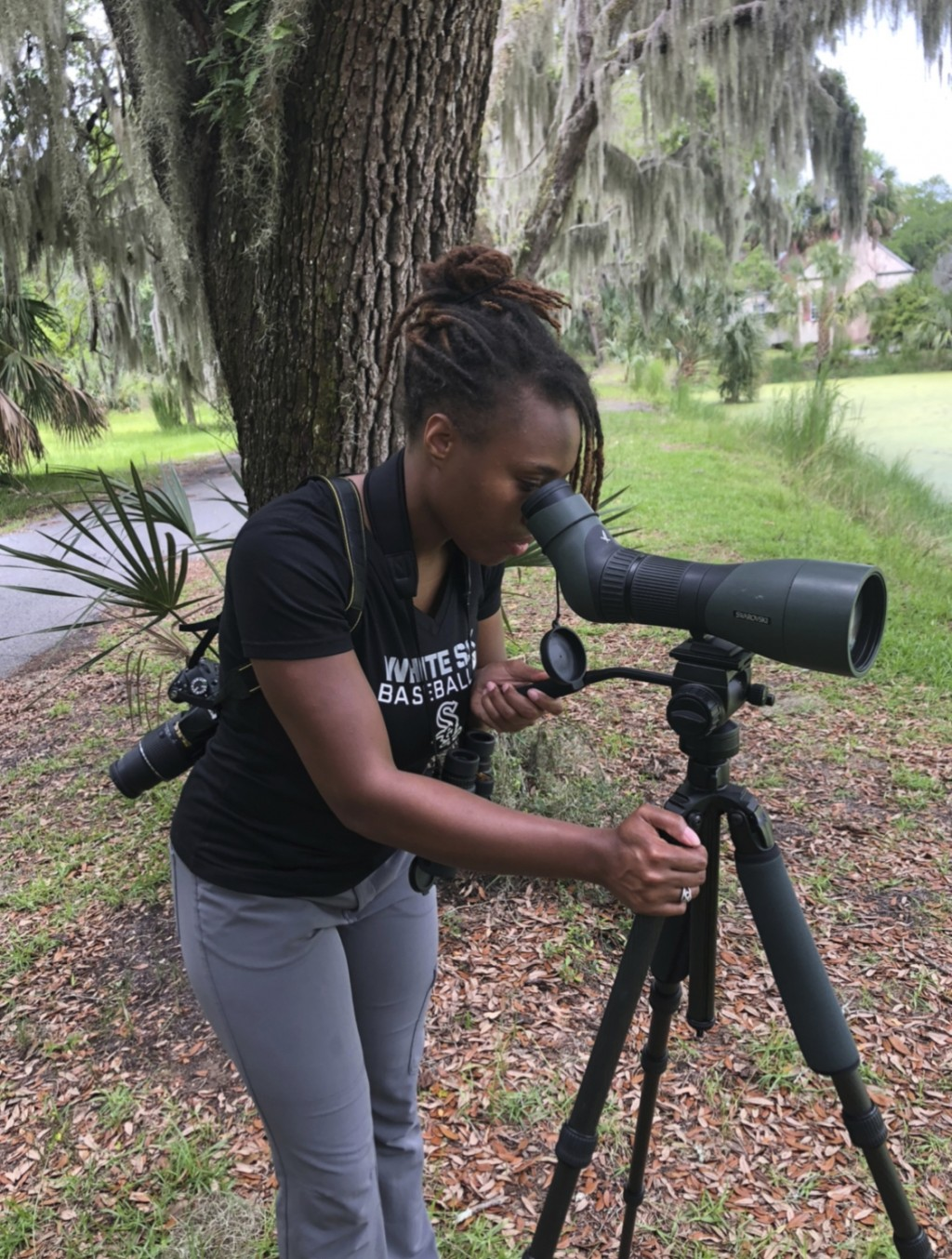 This 2020 photo provided by Deja Perkins shows her on Sapelo Island, Ga. Perkins, a conservation biologist at North Carolina State University, has stu...