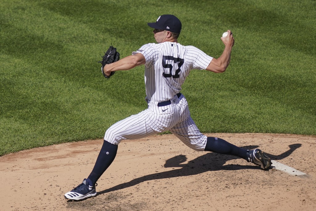 New York Yankees relief pitcher Chad Green throws in the sixth inning of a baseball game against the Baltimore Orioles, Saturday, Sept. 12, 2020, in N...