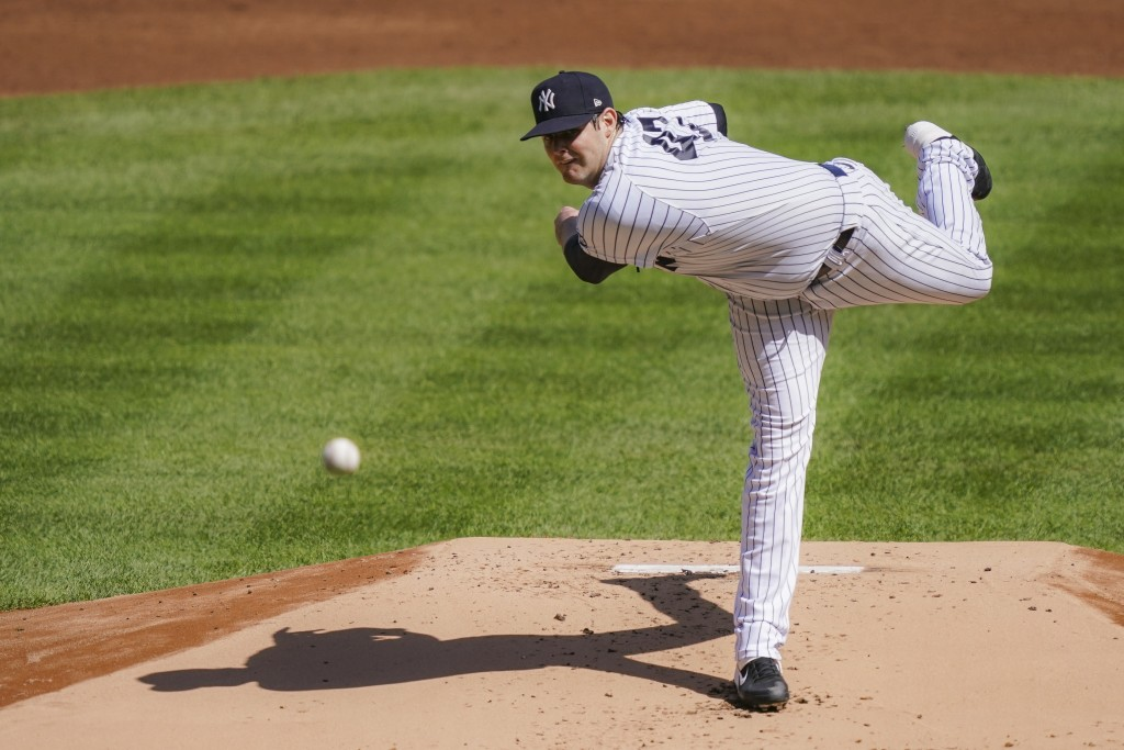 New York Yankees starting pitcher Jordan Montgomery throws in the first inning of a baseball game against the Baltimore Orioles, Saturday, Sept. 12, 2...