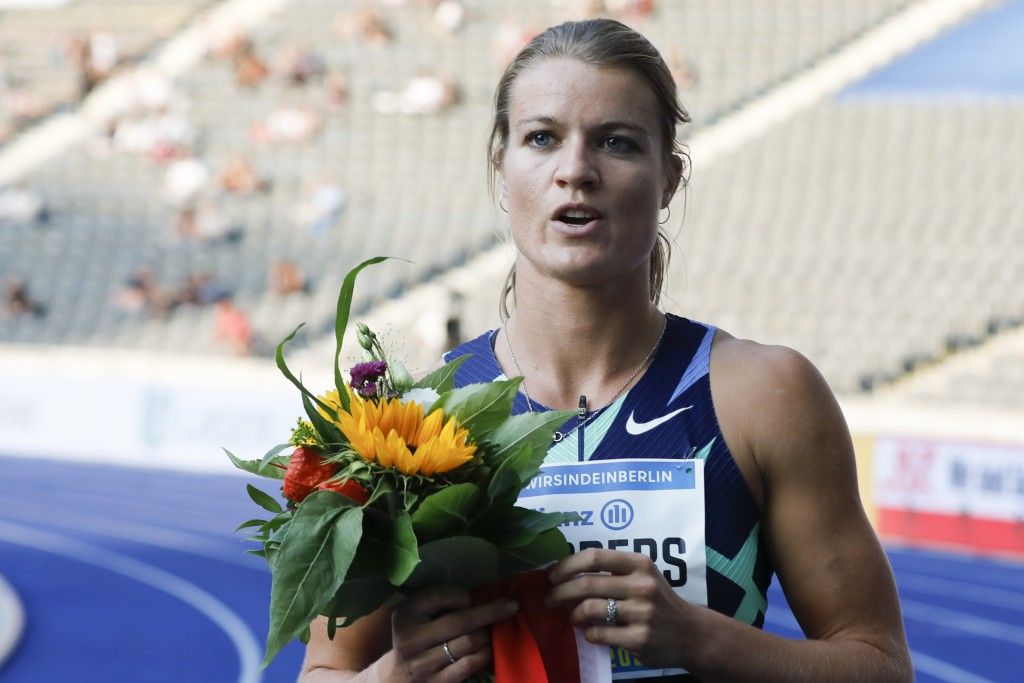 Dafne Schippers of the Netherlands celebrates after winning the women 100 meters at the ISTAF Athletics Meeting in Berlin, Germany, Sunday, Sept. 13, ...