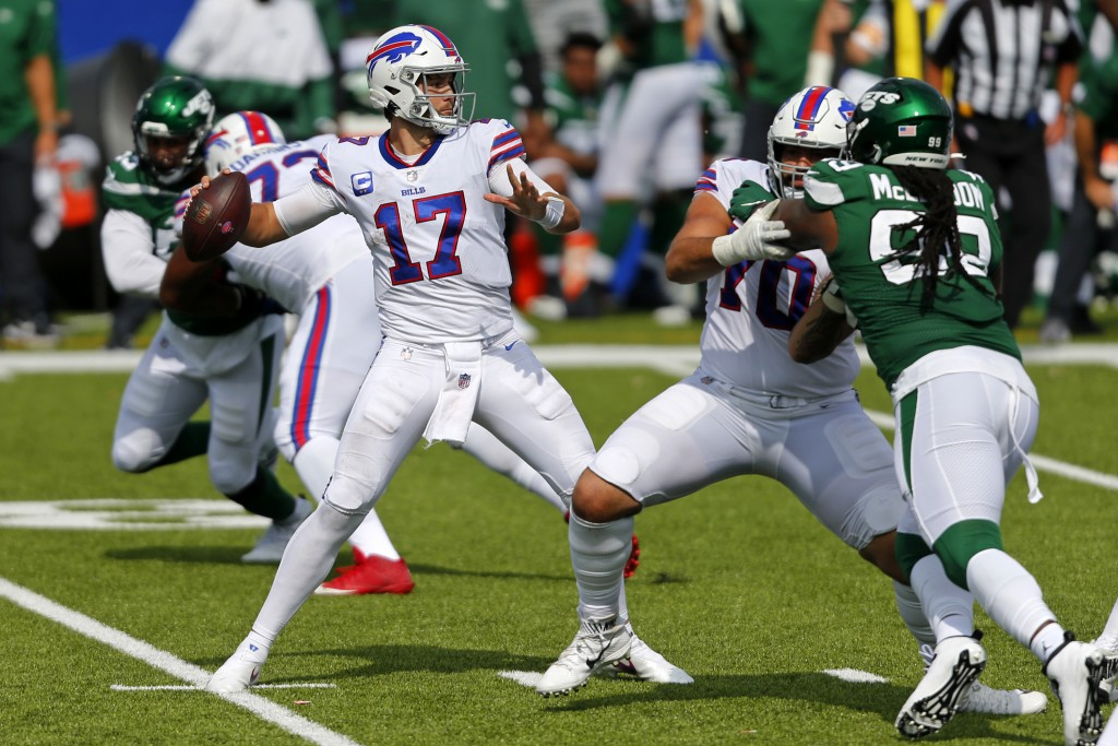 Buffalo Bills quarterback Josh Allen (17) throws a pass during the second half of an NFL football game against the New York Jets in Orchard Park, N.Y....