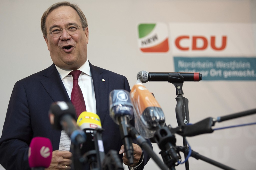 In this Sept. 13, 2020 taken photo Armin Laschet, Prime Minister of North Rhine-Westphalia, makes a statement after the polling stations are closed in...