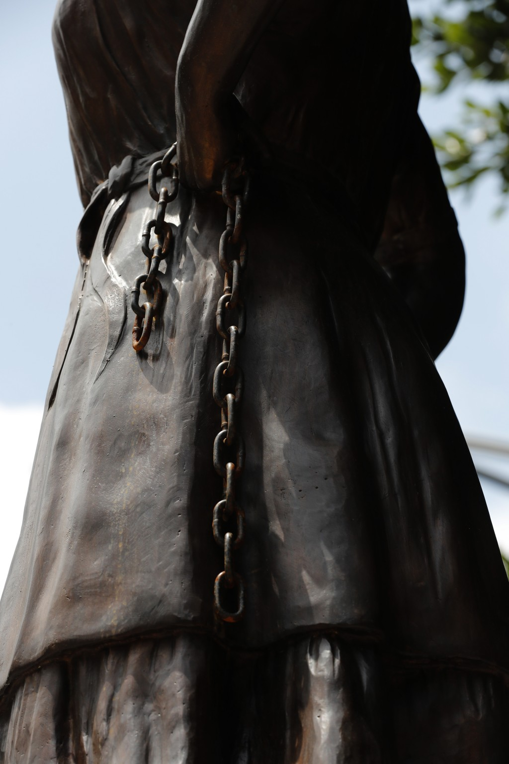 Rust begins to cover a statue of independence heroine Leona Vicario on Paseo de la Reforma in Mexico City, Sunday, September 13, 2020. Mexico will cel...