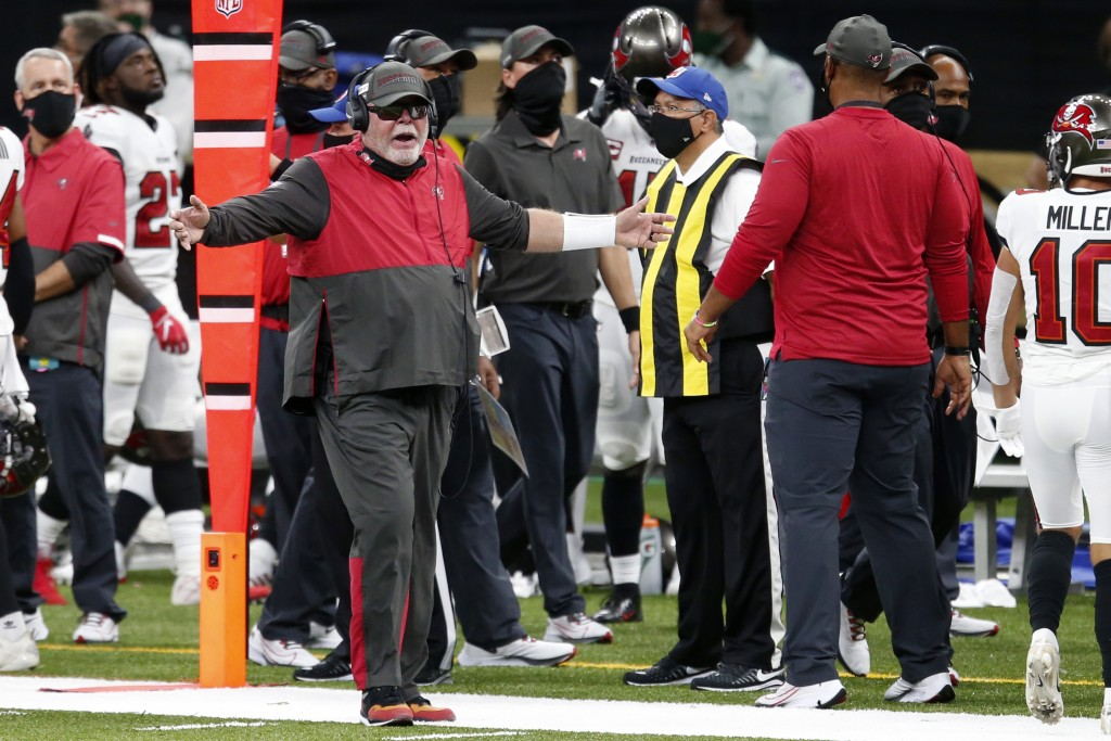Tampa Bay Buccaneers head coach Bruce Arians reacts from the sideline in the first half of an NFL football game against the New Orleans Saints in New ...