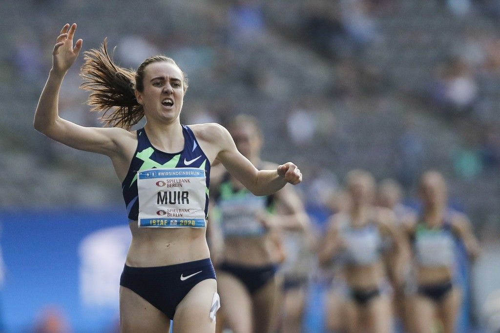 Laura Muir of Great Britain celebrates winning the 1500 meters women race at the ISTAF Athletics Meeting in Berlin, Germany, Sunday, Sept. 13, 2020. (...