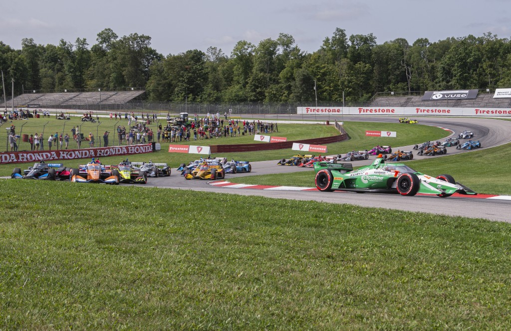 Colton Herta (88) holds the lead early at an IndyCar Series auto race at Mid-Ohio Sports Car Course, Sunday, Sept. 13, 2020, in Lexington, Ohio. (AP P...