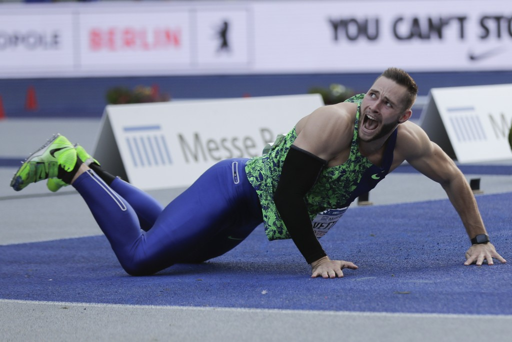 Johannes Vetter, of Germany, reacts as he competes during the men's javelin throw competition at the ISTAF Athletics Meeting in Berlin, Germany, Sunda...