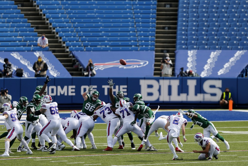 Buffalo Bills kicker Tyler Bass (2) kicks a field goal during the second half of an NFL football game against the New York Jets in Orchard Park, N.Y.,...