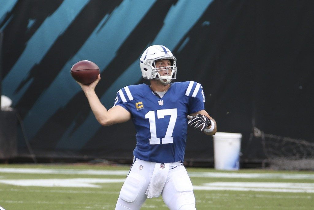 Indianapolis Colts quarterback Philip Rivers (17) throws a pass during the first half of an NFL football game against the Jacksonville Jaguars, Sunday...