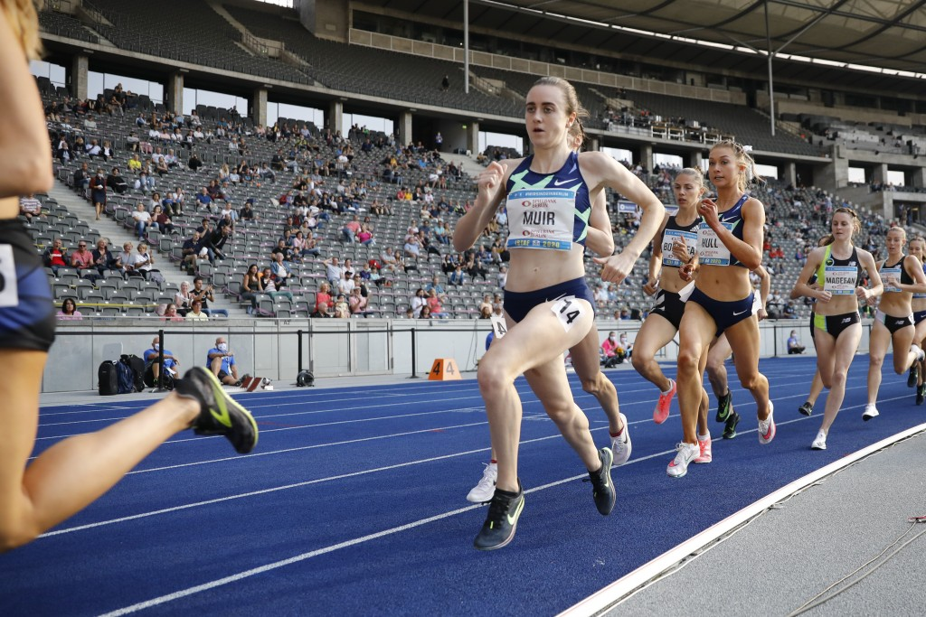 Laura Muir of Great Britain competes in the 1500 meters women race at the ISTAF Athletics Meeting in Berlin, Germany, Sunday, Sept. 13, 2020. (AP Phot...