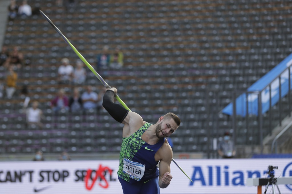 Johannes Vetter, of Germany, competes during the men's javelin throw competition at the ISTAF Athletics Meeting in Berlin, Germany, Sunday, Sept. 13, ...