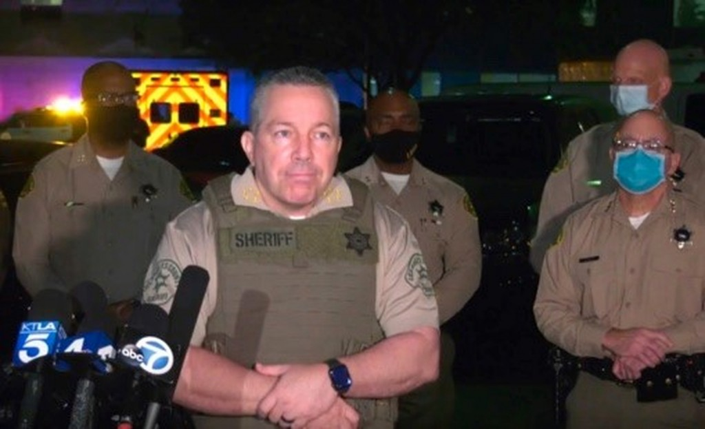 This Saturday, Sept. 12, 2020, still image taken from video released by the Los Angeles County Sheriff's Department, shows Los Angeles Sheriff Alex Vi...