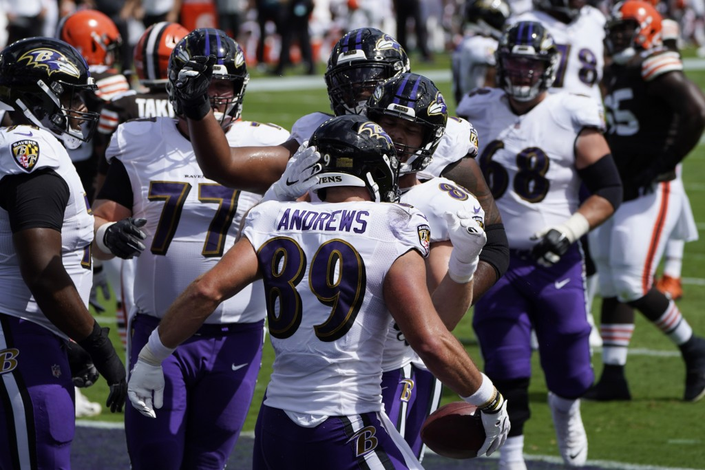 Baltimore Ravens tight end Mark Andrews (89) celebrates a touchdown, during an NFL football game against the Cleveland Browns, Sunday, Sept. 13, 2020,...