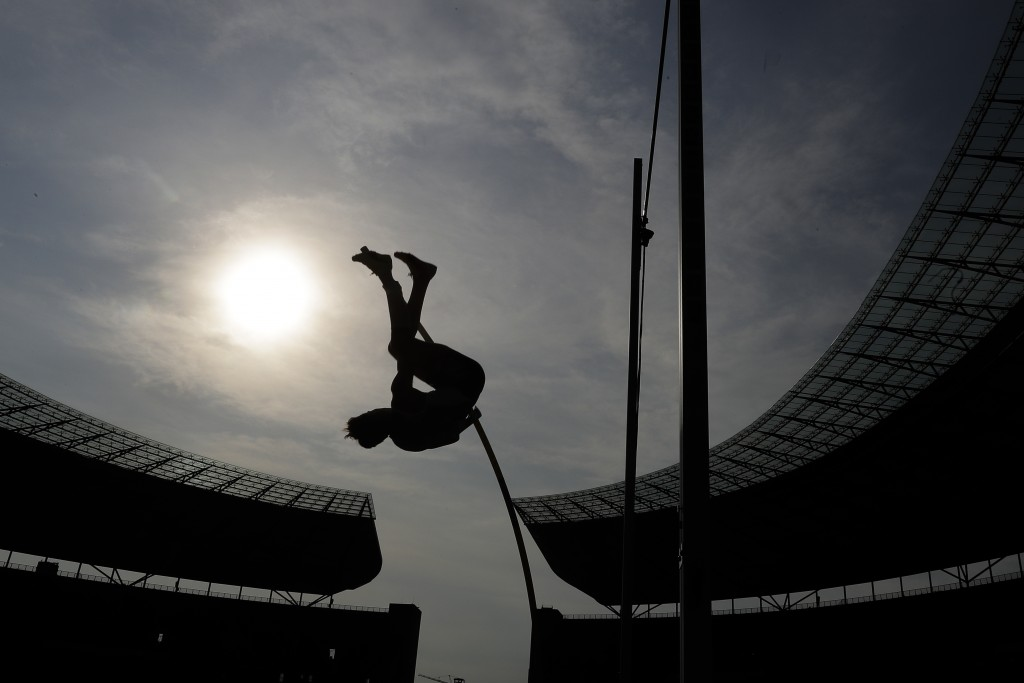 Sweden's Armand Duplantis makes an attempt during the Pole Vault Men competition at the at the ISTAF Athletics Meeting in Berlin, Germany, Sunday, Sep...