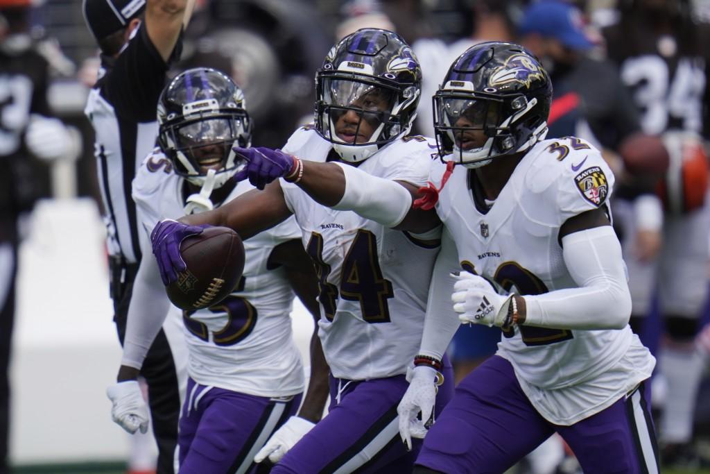 Baltimore Ravens cornerback Marlon Humphrey (44) celebrates after intercepting a pass, during an NFL football game against the Cleveland Browns, Sunda...