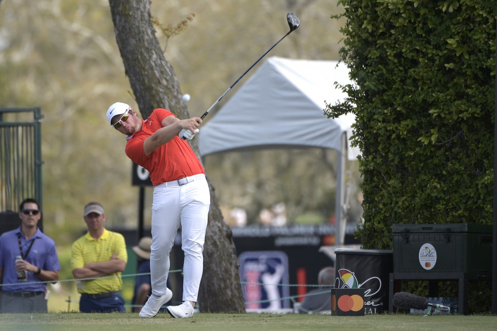 FILE - Sam Horsfield, of England, tees off on the ninth fairway during the final round of the Arnold Palmer Invitational golf tournament Sunday, March...