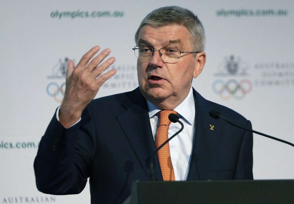 In this May 4, 2019, file photo, International Olympic Committee President Thomas Bach speaks at the Australian Olympic Committee annual general meeti...