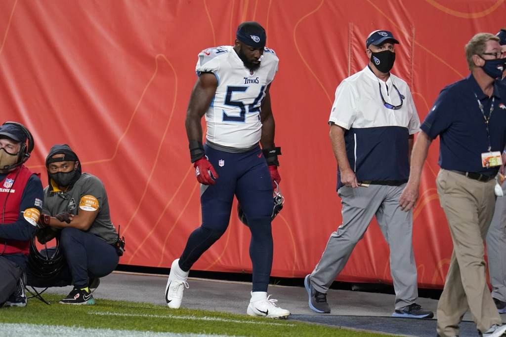 Tennessee Titans inside linebacker Rashaan Evans (54) leaves the field after being ejected during the first half of an NFL football game against the D...