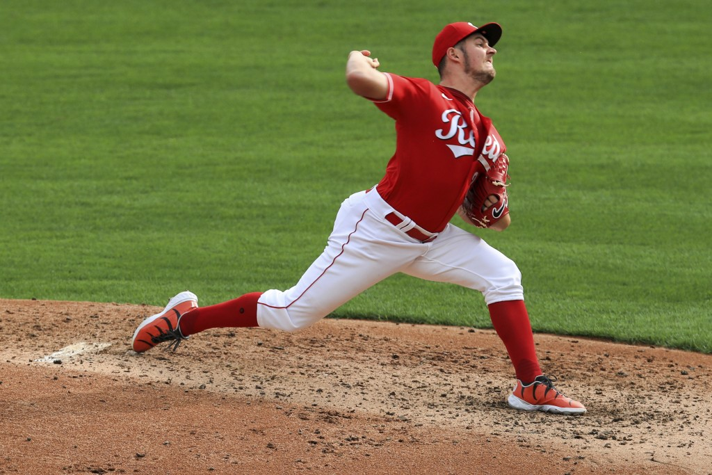 Cincinnati Reds' Trevor Bauer throws in the fourth inning during a baseball game against the Pittsburgh Pirates in Cincinnati, Monday, Sept. 14, 2020....