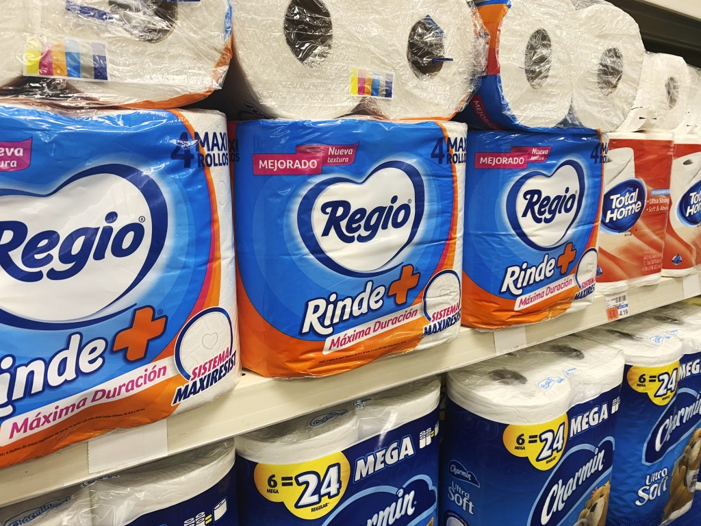This Sept. 4, 2020, photo, shows Regio, a Mexican toilet paper brand, on the shelf at a CVS in New York. Demand for toilet paper has been so high duri...