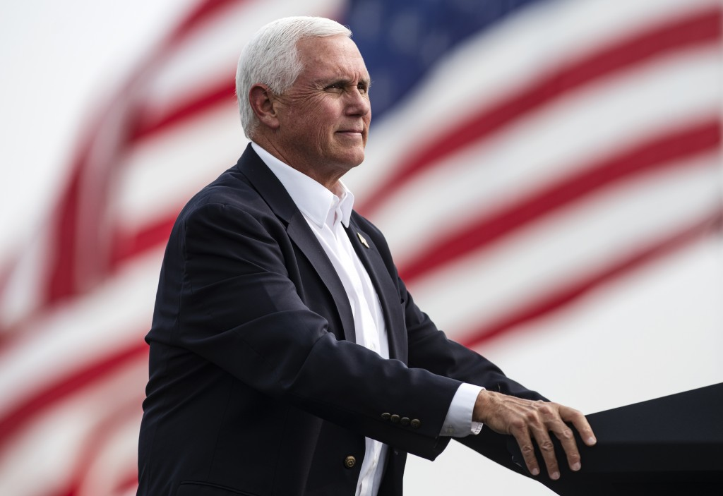 Vice President Mike Pence looks on during a break in his speech at a Republican campaign rally in Belgrade, Mont., on Monday, Sept. 14, 2020. (AP Phot...